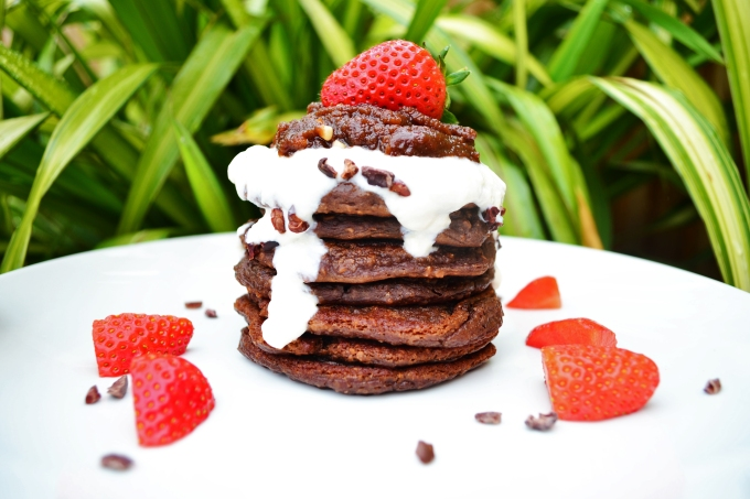 Hazelnut brownie protein pancakes 3