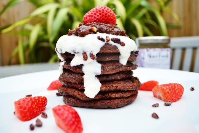 Hazelnut brownie protein pancakes